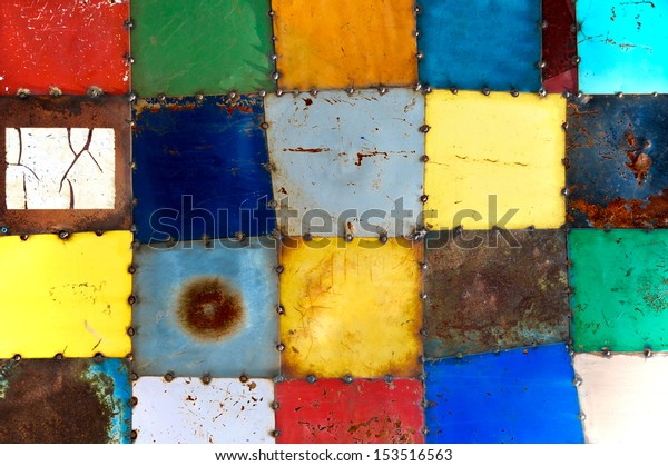 Abstract Multicolored Painted Metal Squares