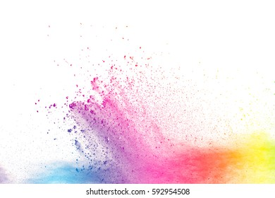 abstract multicolored powder splatted background,Freeze motion of color powder exploding/throwing color powder, multicolored glitter texture on white background.