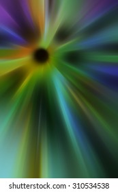 Abstract multicolored radial blur with black core, for themes of origin, centrality, or radiance in decoration and background