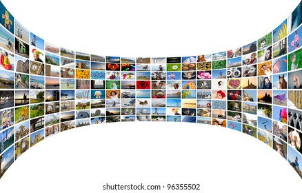 Abstract multimedia background made by different images bent.