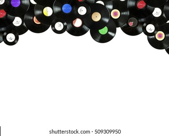Abstract music colorful border, made of vintage vinyl records, isolated over white background, all labels designed by myself