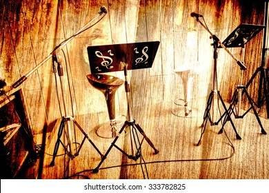 Abstract Music stage or singing background, microphone,chair on wood background made with vintage.