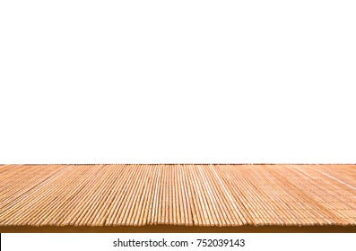 Abstract Natural bamboo mat on wood table isolated on white background : Top view of plank wood for graphic stand product, interior design or montage display your product