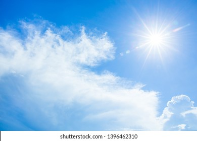 Abstract Natural bright sunlight sky background with light effect, Lens flare realistic illustration. Solar flash with golden rays during sunrise or sunset for backdrop design.