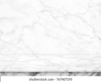 Abstract Natural texture marble floor on background : Top view of marble table for graphic stand product, interior design or montage display your product.