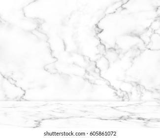 Abstract Natural white marble texture background on white marble floor : Top view of marble table for graphic stand product, interior design or montage display your product