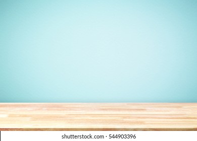 Abstract Natural wood table texture on blue background : Top view of plank wood for graphic stand product, interior design or montage display your product