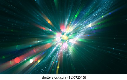abstract neon background. fractal explosion star with gloss and lines. illustration beautiful.