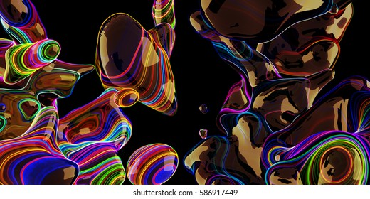 Abstract neon bubbles, lava lamp on black background. Applicable for Covers, Placards, Posters, Flyers and Banner Designs. 3D Rendering