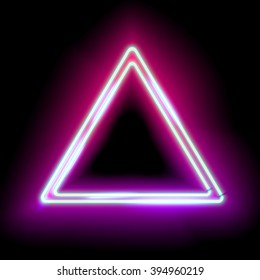Abstract neon glowing triangle with place for your text. Electronic frame purple triangle for your design