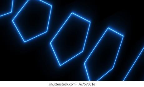 Abstract neon poligonal background. Digital illustration. 3d rendering