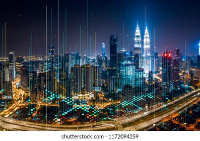 Abstract Network and Connection technology concept at Kuala Lumpur city skyline at night