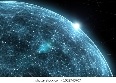 Abstract network data globe with numbers illustration, view from space and flare of light.