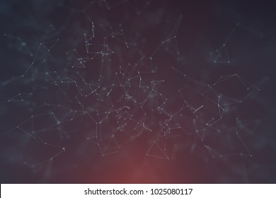 Abstract network lines and dots on dark blue red background. Selective focus used.