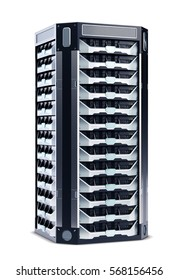 Abstract Network Server isolated on White Background. 3D illustration