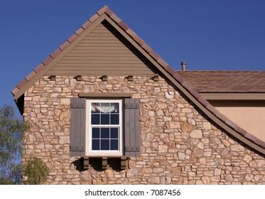 Abstract of New Home Construction Facade.