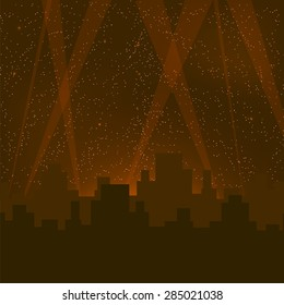 Abstract Night City Background. Night City Buildings Silhouettes