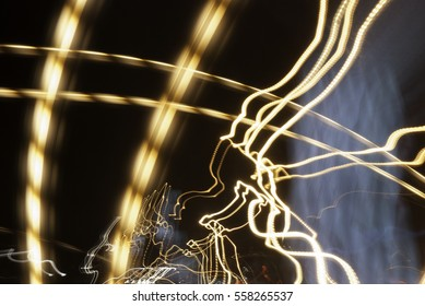 Abstract night city lamp, headlights