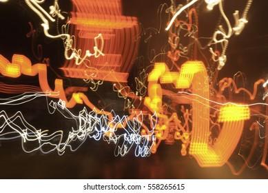 Abstract night city lamp, headlights