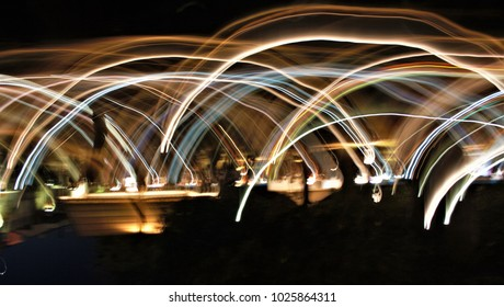 Abstract night photography with movement of lights effect
