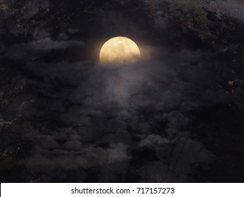 Abstract night sky with full moon for halloween background.