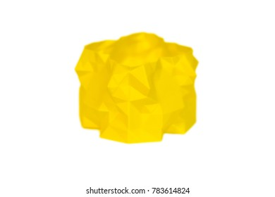 Abstract object of yellow color printed by 3d printer isolated on white background. Fused deposition modeling, FDM. Progressive modern additive technology. Concept of 4.0 industrial revolution