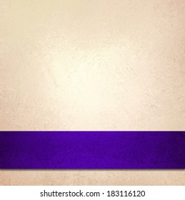 abstract off white background and purple blue ribbon stripe, beautiful golden background accent color or fancy elegant pale gold background paper with faint luxurious vintage background texture