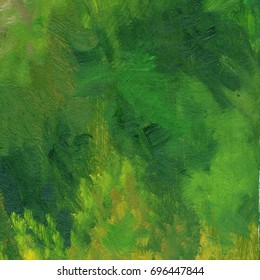 Abstract oil painted background. Hand drawn green strokes. Ecology backdrop.