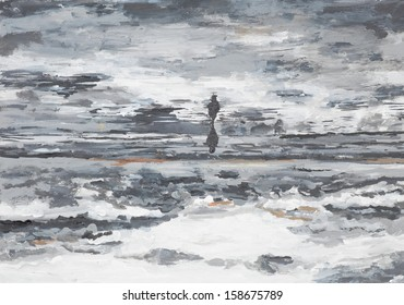 abstract oil painting illustrating a running horse through water on horizon