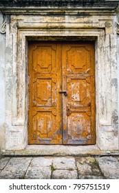 abstract old door in brocken house