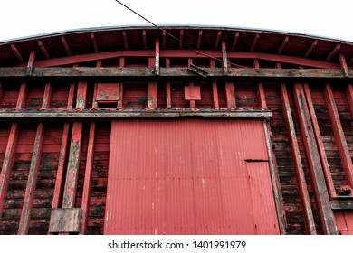 Abstract old red warehouse building wall in daylight