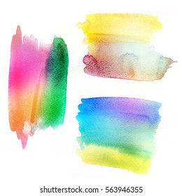 Abstract ombre colorful watercolor banners.  Painted web elements for icons, banners and labels. Isolated shapes on white background.