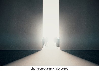 Abstract opening with bright light and people silhouettes in concrete interior. Success concept. 3D Rendering