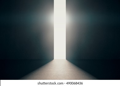 Abstract opening in wall with bright daylight in concrete interior. Success concept. 3D Rendering