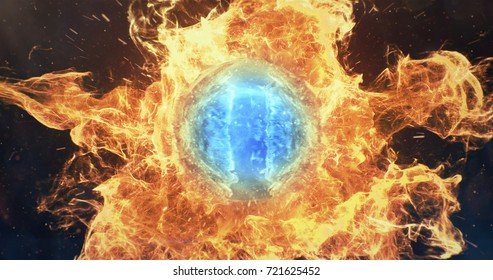 abstract orange blue particles flame smoke fire lens sphere background 3D illustration