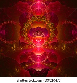 Abstract organic looking fractal tower background with a detailed decorative waves and rings, all in glowing pink,yellow,green