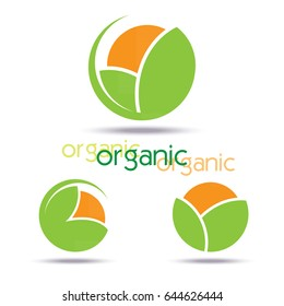 Abstract organic template logo design. Icon, Sign or symbol for organic produce, farm, nature or ecology.  flat design