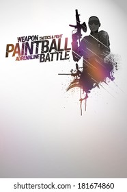 Abstract paintball or airsoft game invitation advert background with empty space