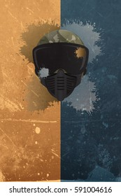 Abstract paintball or airsoft game invitation advert background with mask and empty space