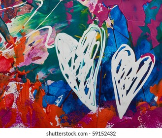 Abstract painted heart, artwork is created and painted by myself