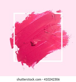 Abstract painted textured red brush background