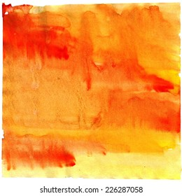 Abstract painted watercolor background on paper texture. Orange and yellow  watercolor background for textures and backgrounds