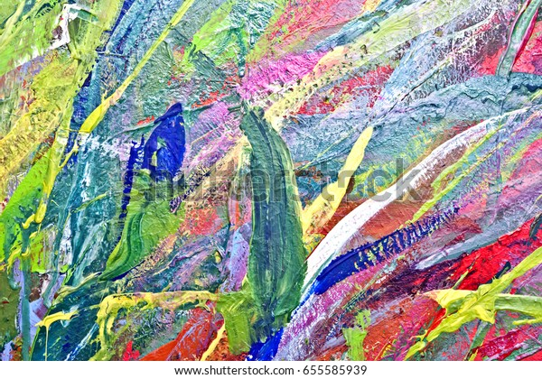 Abstract Painting Flowers Acrylic Colourful Stock Photo