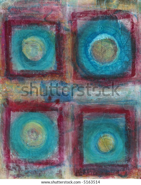 Abstract Painting Four Blue Circles Squared Stock Photo