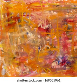 Abstract painting on paper in red and yellow colors, artistic background