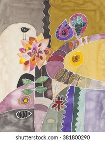 Silk painting images stock photos vectors shutterstock abstract painting on silk with flowers bird and other elements original hand painted artwork mightylinksfo