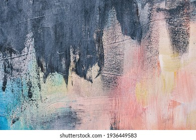 Abstract painting with pastel colors and grey stokes, grunge background or texture
