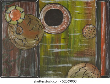 An abstract painting reminiscent of ponds and/ or germs. Very weathered.