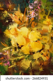abstract painting of vibrant yellow flowers,illustration