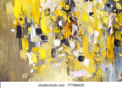 Abstract painting, yellow colors, hand painted, details